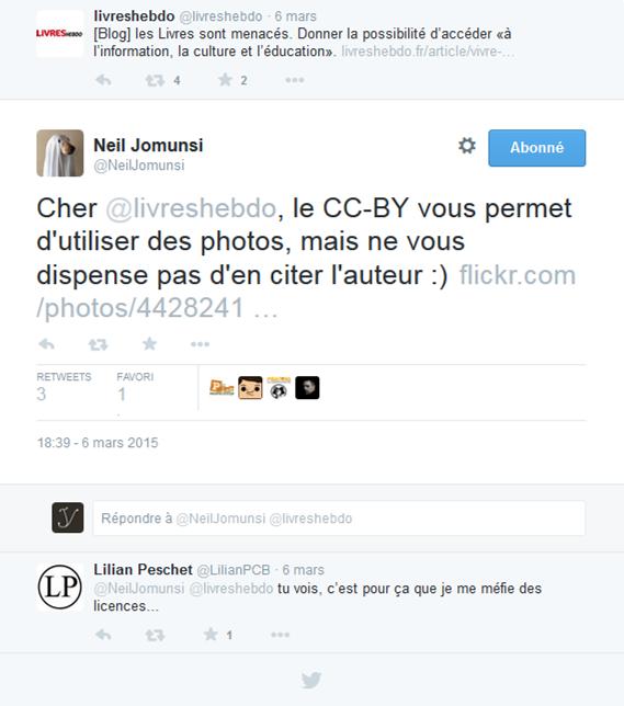 Conversation sur Twitter illustrant les réticences envers les licences CC (avec des tweets de Livres Hebdo, Neil Jomunsi et Lilian Peschet.)